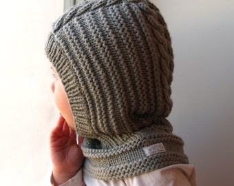 READY TO SHIP sizes 3-6-10y !! Merino wool Balaclava, Baby/ Toddler/ Children hat. Olive Grey, Hat with Neckwarmer.