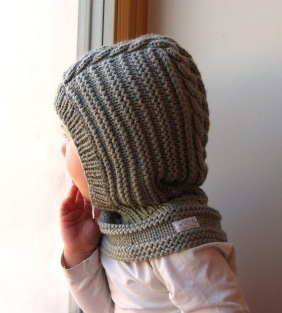 Whippet Balaclava Knitting Pattern : READY TO SHIP sizes 3-6-10y Merino wool Balaclava Baby/
