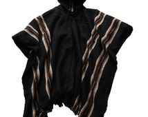 Mens Hooded poncho made in handloom, Bolivia alpaca wool