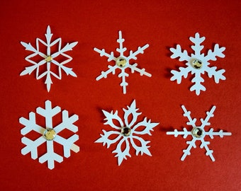 20 White Snowflake die cuts with Gem for christmas cards/toppers cardmaking scrapbooking craft project!