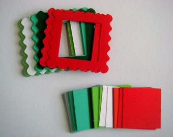 20 Wavy Christmas Frame die cuts with inserts for cards toppers cardmaking scrapbooking craft project