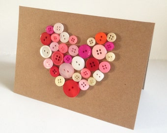 Handmade Button heart Valentine card 'filled with lots of love' shabby chic style-eco recycled *exclusive to etsy*