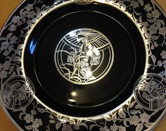 Art Nouveau  Rockwell Silver Overlay Black Glass Plate