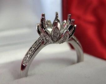 Lotus Blossom Diamond Ring Setting