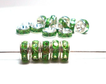 20 Green Rhinestone Rondelle Spacers, 8x4mm Spacers Crystal Rondelle Spacers, Green Rhinestone Spacer Beads, Crystal Spacers A-004G