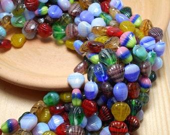 Shell Mix Czech Glass Beads, Strung Bead Mix, Shell Beads, Luster Czech Beads, Variety of Beads, Beach Beads, Sea Shell Beads D-A19