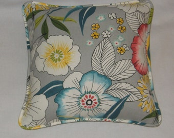 Teal, Pink, Yellow, White Floral Pillow Cover. Beach.  Summer. Accent Pillow. Handmade. Home Decor. Decorator. Cording and zipper closure