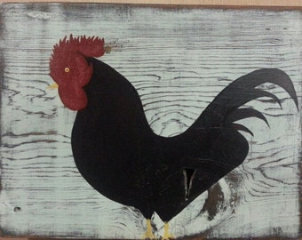 HANDPAINTED - Primitive Rooster