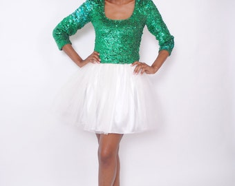 vintage mini tulle sequin party dress. Long Sleeve. Emerald Ivory. Party Prom Dress. Size Medium