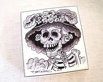 Halloween Skeleton Lady Keepsake Box  -  Hand painted - One of a Kind - Halloween Decoration