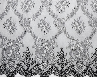 "1.5Yards Exquisite ivory Lace, Eyelash Lace Trim in off white For Wedding, Shawls, Skirt, Lingerie black lace trim,white lace ribbon 39""*59"""