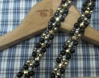 Black Beaded Trim-NEW bead vintage Ribbon