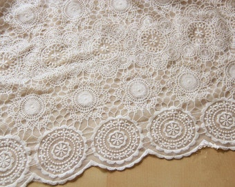beige Embroidery Lace Fabric , Wedding Lace , 49 inches Wide circle Pattern Lace fabric  for Wedding Dress,Bridal Veil,Costume,Craft Making