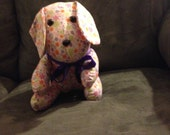 "NEW HOMEMADE Multicolor Pastel Floral Print 12"" Stuffed Dog"