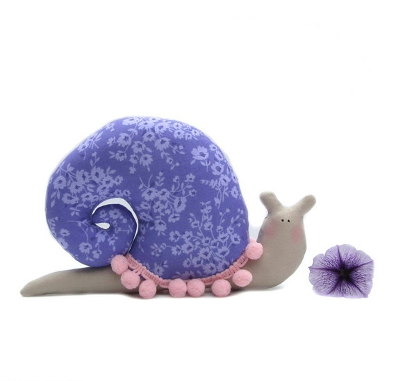 Stuffed Toy Snail Plush Fabric Toy Handmade Toy In Light