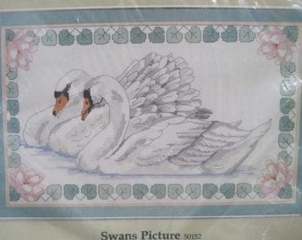 """Cross Stitch Kit - Swans Picture - by Something Special Candamar Designs - 19"""" x 12"""" - NEW NIP - Vintage 1980's"""