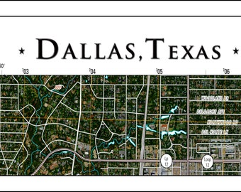 Dallas Map, Map of Dallas, Texas Map, Dallas, Texas Topo Maps, Custom Topo Map for your Home