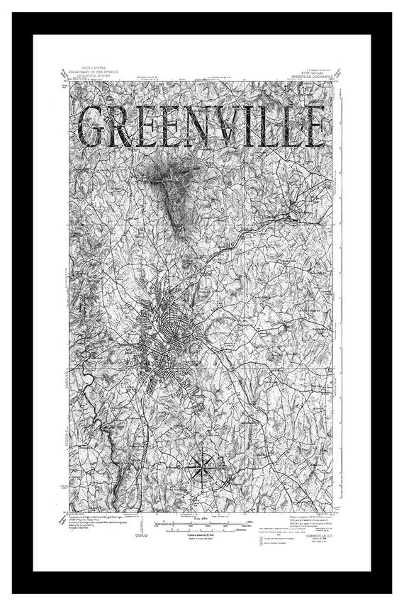 Greenville Map Vintage Map Of Greenville Sc City By