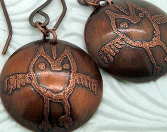Copper Petroglyph Earrings with Speedis the Owl from Columbia River Gorge Pictographs