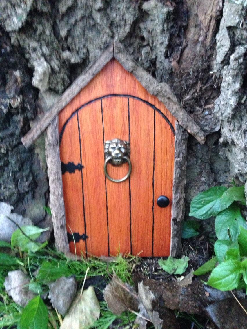Gnome door fairy door or tree door with lion knocker for Fairy doors for trees
