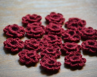 17 winered crocheted embellishment applique flowers