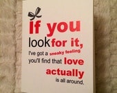 Love Actually is all around, 4.25x5.5 quarter-fold greeting card, printable, digital