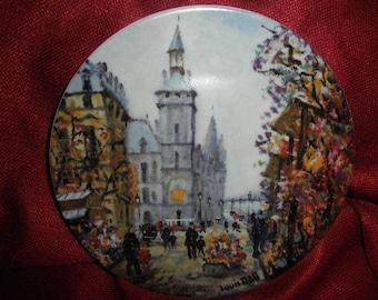 """Plate by Luis Dali Porcelaine de Limoges France  """"Le Marche Aux Fleurs Et La Conciergerie"""""""