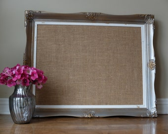 custom framed corkboard burlap cork board escort cards wedding seating chart home decor