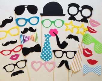 Party Photobooth Props Holiday Photo Booth Props Set of 30