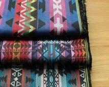 Thick BOHO Bohemian Fabric Ethnic Fabric Navajo Fabric Mexican Fabric Tribal Fabric Aztec Fabric Peruvian Fabric Stripe Fabric -Half Yard