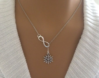 Lariat Style Infinity and Snowflake Necklace