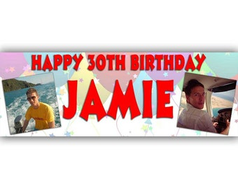 Personalised 2 photo party banners for any occasion. Picture Birthday banner. Individual banners or banner packs for venue decoration