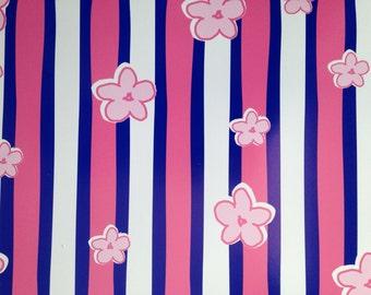 12x12 Pink/Blue Stripe Flower Paper