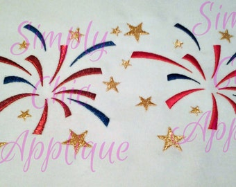 Instant Download Satin Stitch Fireworks - Embroidery Design USA Patriotic