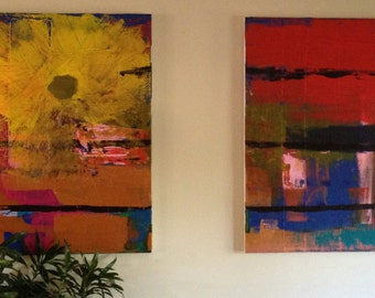 "Titled: Été - Original Acrylic Abstract Painting - 36""x48"" (x2)"