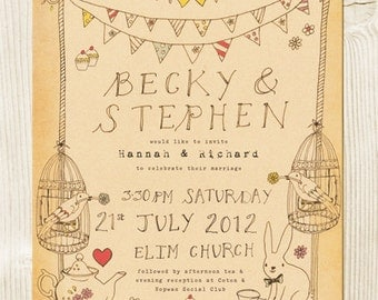 Mad hatter tea party themed wedding invitation - Alice in Wonderland