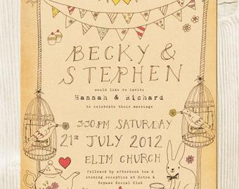 Mad hatter tea party themed wedding invitation - Alice in Wonderland