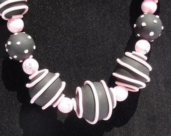 Polka dot necklace, pink and black necklace, polymer clay necklace