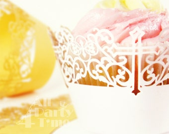 White Cross Silhouette Cupcake Wrapper, Party Cupcake Wrappers, White / Gold Religious Dessert Decor