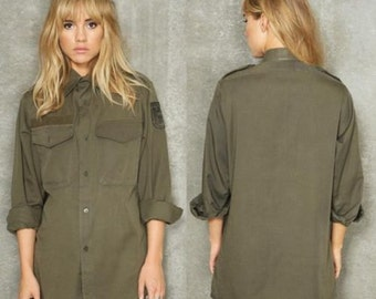 Austrian army fieldshirt shirt jacket olive / khaki f2 military mens womens