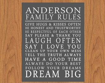 Personalized Family Rules Wall Art Sign Subway House Rules Grey Playroom Art Print Typography Poster Modern Art Decor 11x14  (17-3)