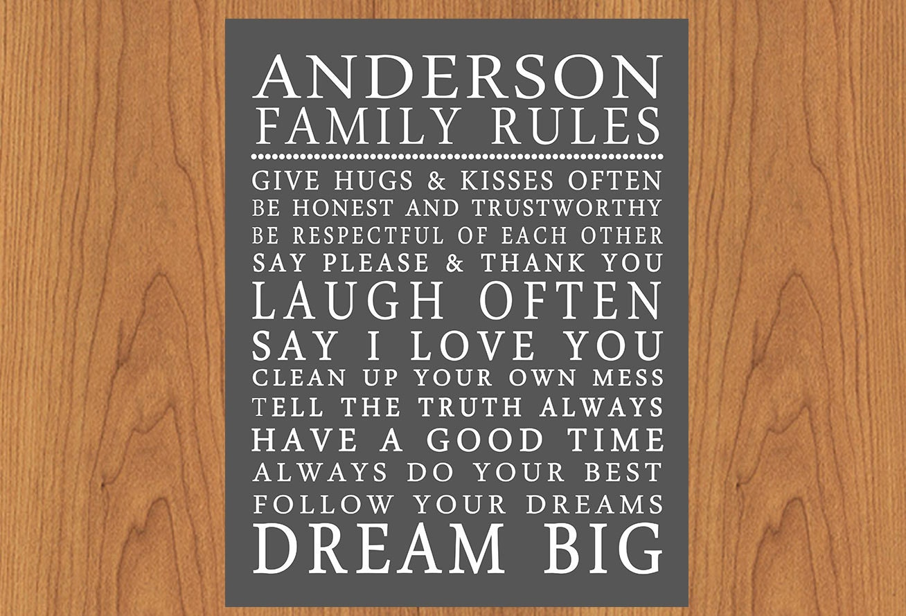 Family Rules Wall Art personalized family rules wall art sign subway house rules