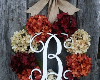 Hydrgeneas Wreath, Fall Wreath, Grapevine Wreath, Autumn Wreath, Fall Hydrgeneas Wreath