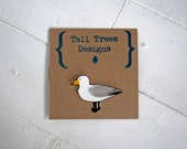 Seagull Badge, Cute hand painted plastic brooch