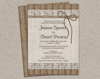 Rustic Couples Shower Invitation, Burlap And Lace Wedding Shower Invitation, DIY Printable Rustic Wedding Shower Invitation Burlap & Lace
