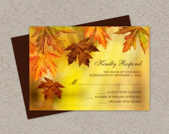 DIY Fall Wedding RSVP Cards With Falling Leaves, Fall Leaves Wedding Response Cards, Fall Wedding Response Cards