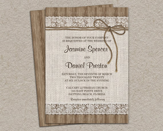 Wedding Invitations With Burlap: Rustic Burlap Wedding Invitation DIY Printable Rustic Wedding