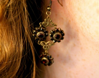 Handmade Ruby Flowers Earrings made from Recycled Materials