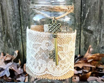 Rustic shabby chic mason jar burlap lace key wedding decor