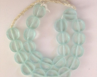 HANDMADE GLASS DISCS - translucent  shades of sea greens in a roundish shape